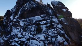 Winter landscape in Siberia,  rock stock footage