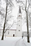 Winter landscape in Sigulda. Royalty Free Stock Photo