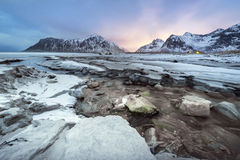 Winter landscape of Skagsanden Beach on the Lofoten Islands Royalty Free Stock Image
