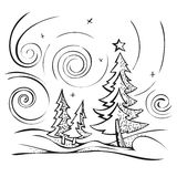 Winter landscape sketch stylized vector vector illustration
