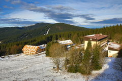 Winter landscape in the ski resort of Špičák,  Železná Ruda, Czech Republic. A Picture of the Winter landscape in the ski resort of Špičák, Žezná Ruda Stock Photography