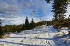 Winter landscape in the ski resort of Špičák,  Železná Ruda, Czech Republic. A Picture of the Winter landscape in the ski resort of Špičák, Žezná Ruda Stock Photos