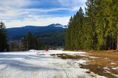 Winter landscape in the ski resort of Špičák, Železná Ruda, Czech Republic. A Picture of the Winter landscape in the ski resort of Špičák, hotel Belveder Stock Photos