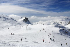 Winter landscape in the ski resort of La Plagne, France royalty free stock images
