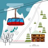 Winter landscape with ski resort, ski funicular and hotels. Snow mountains, trees and firs Stock Photography