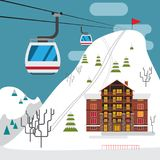 Winter landscape with ski resort, ski funicular and hotels. Stock Photo