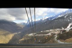 Winter landscape of ski resort in Sochi. View from a cabin cable car Stock Photo