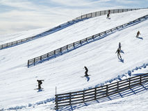 Winter landscape with ski school royalty free stock photos