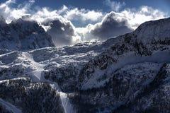 Passo San Pellegrino ski resort. Winter landscape of ski slopes of passo san pellegrino, dolomites in italy Royalty Free Stock Images