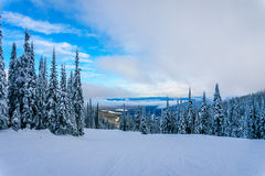 Winter landscape on the Ski Slopes at the village of Sun Peaks Stock Images