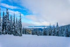 Winter landscape on the Ski Slopes at the village of Sun Peaks Stock Images