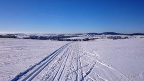 Winter landscape, ski tracks, Czech Republic Stock Images