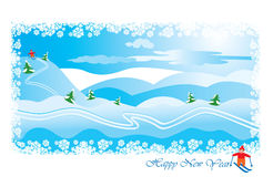 Winter landscape with skier Royalty Free Stock Images