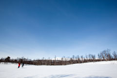 Winter Landscape with Skiiers Stock Image