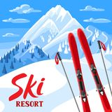 Winter landscape with skiing equipment. Snowy mountains and fir forest.  Stock Image