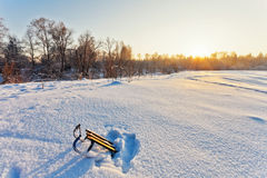 Winter landscape with sledge Royalty Free Stock Images