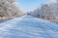 Winter landscape with slippery country road Stock Photography