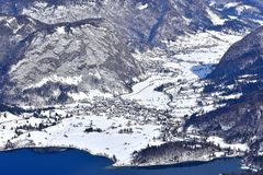 Winter landscape, Slovenia, area Bohinj. Bohinj and Lake Bohinj from Vogel in winter time. Slovenia, Europe stock image
