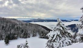 Winter Landscape Slovenia Valley Hills Stock Photos
