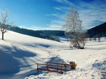 Winter Landscape with small Bridge Stock Photography