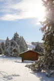 Winter landscape with a small chalet Royalty Free Stock Photography