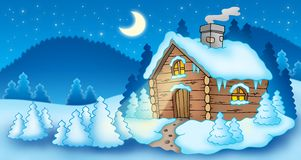 Winter landscape with small cottage Stock Photos