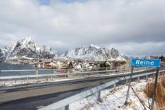 Winter landscape of small fishing port Reine on Lofoten Islands, Stock Photo