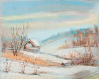 Small house on a hill. Winter landscape with a small house on a hill Royalty Free Stock Image