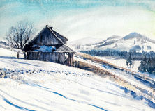 Winter. Landscape with small house in mountains watercolor painted Stock Photo