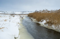 Winter landscape with small river Stock Photography