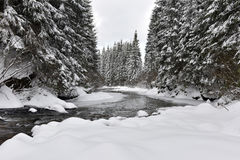 Winter landscape of a small snowy river Royalty Free Stock Photography
