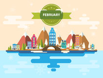 Winter landscape. Small town. Set 1 of urban buildings. Calendar. Month of February. Infographics. Flat design Mountains, nature, buildings, city Image royalty free illustration