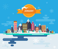 Winter landscape. Small town. Set of urban buildings. Calendar. Month of January. Infographics Flat design Mountains, urban, nature, buildings, city Stock Stock Images
