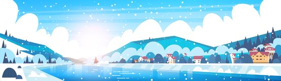 Winter Landscape Of Small Village Houses On Banks Of Froze River And Mountain Hills Covered With Snow Horizontal Banner. Flat Vector Illustration Stock Images