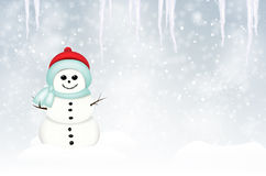 Winter landscape with smiling snowman and icicles Royalty Free Stock Image