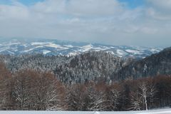 Winter landscape in the snow-capped forest mountains Stock Image