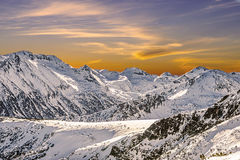 Winter landscape of snow-capped mountains Pirin Stock Photo