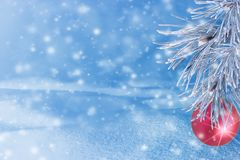 Winter landscape with snow. Christmas background with fir branch. And Christmas ball.Merry Christmas and happy New Year greeting card with copy-space royalty free stock image