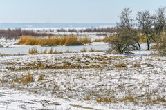 Winter landscape with snow-covered banks of the river Royalty Free Stock Photo