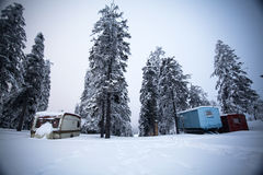 Winter landscape with snow covered caravans Royalty Free Stock Photos