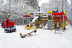 Snow-covered children's playground Stock Image