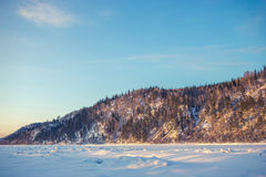 Winter landscape of snow-covered fields, trees Royalty Free Stock Image