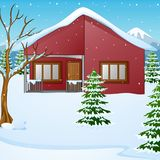 Winter landscape with snow covered house and fir tree Stock Photos