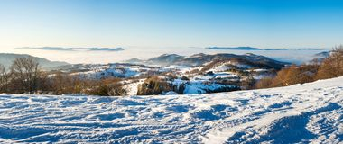 Winter landscape with snow covered mountain Stock Photography