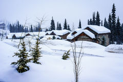 Winter Landscape with Snow Covered Roofs on the Houses Stock Photos