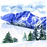 Winter landscape with snow covered trees, travel background, Alpine Alps mountain, hand drawn watercolor illustration. On white background Stock Photos