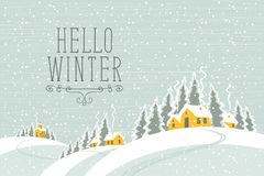 Winter landscape with snow-covered village. Vector white winter landscape with village and houses on the snowing hills in the snowy forest. Lettering Hello Royalty Free Stock Images