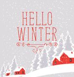 Winter landscape with snow-covered village. Vector white winter landscape with village and red houses on the snowing hill in the snowy forest. Red lettering Stock Photography