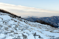 Winter landscape snow hill in korea Stock Photography