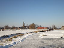 Winter landscape with snow in Holland Royalty Free Stock Images